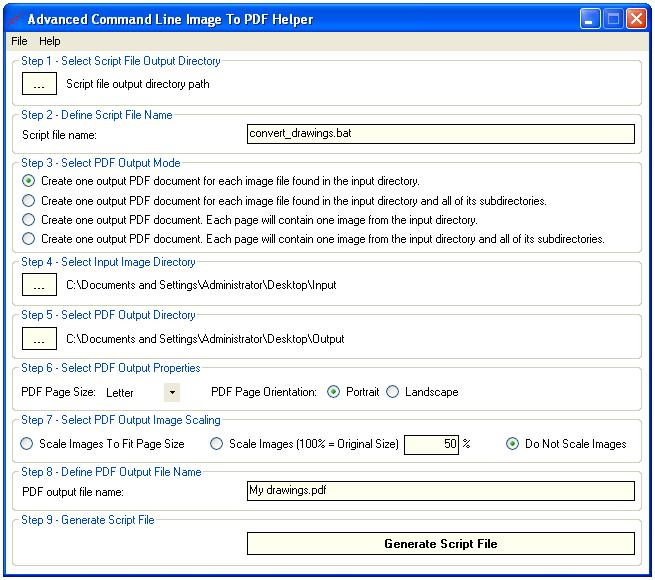 Advanced Command Line Image To PDF full screenshot
