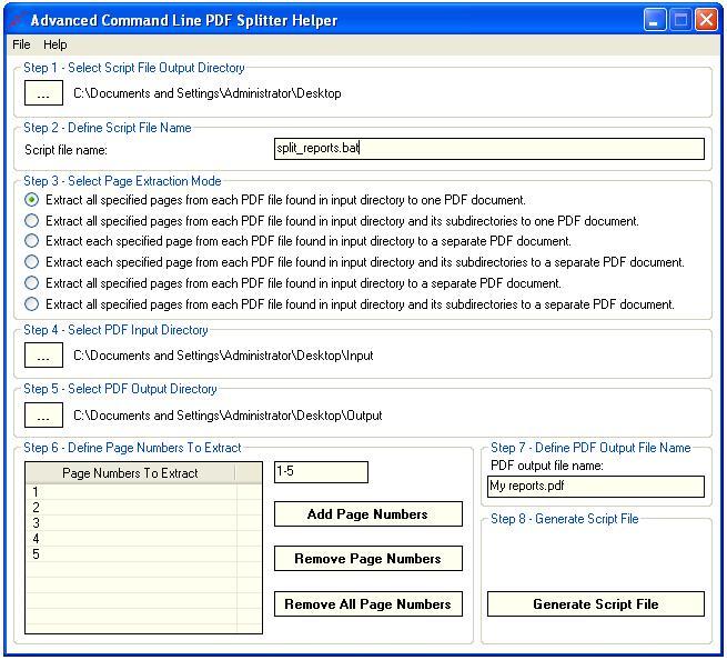 Windows 7 Advanced Command Line PDF Splitter 1.8 full