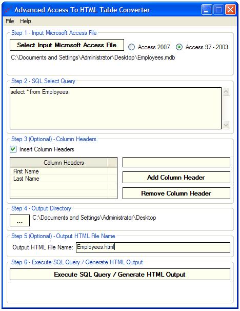 Advanced Access To HTML Table Converter Screen shot