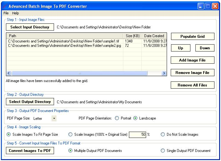 Advanced Batch Image To PDF Converter Screen shot