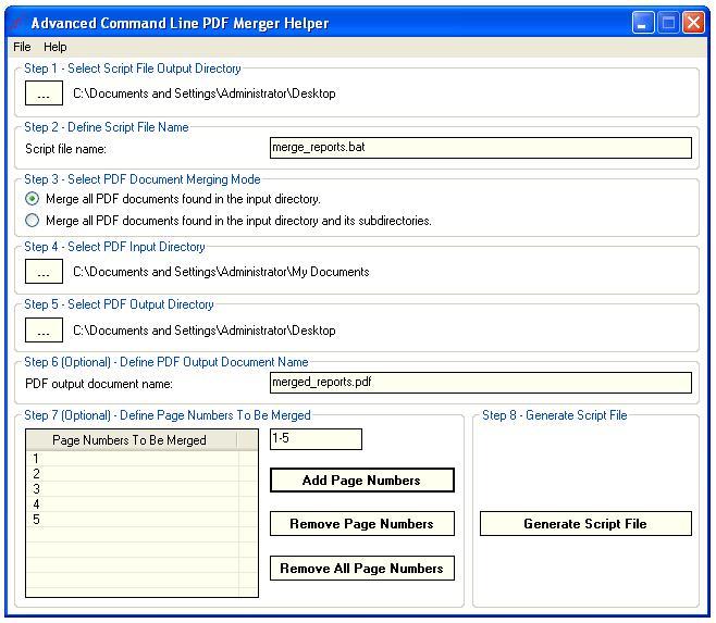 Screenshot of Advanced Command Line PDF Merger 1.8