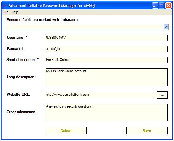 Advanced Rel. Password Manager MySQL