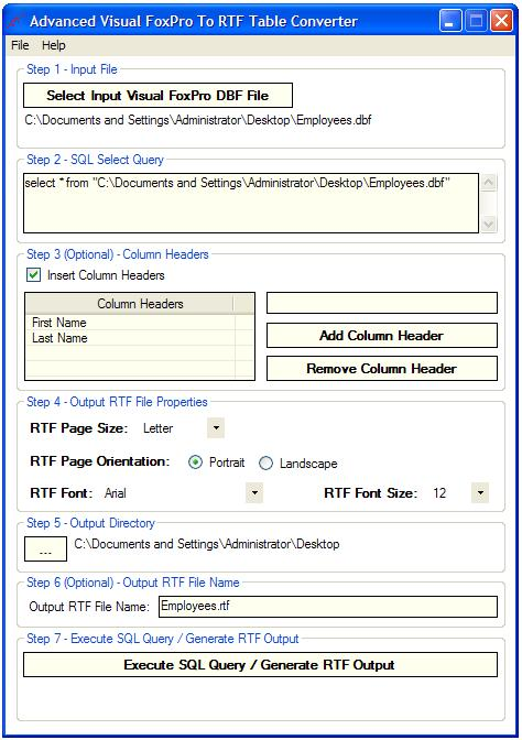 Advanced FoxPro To RTF Table Converter