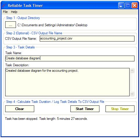Task duration calculator and logger.